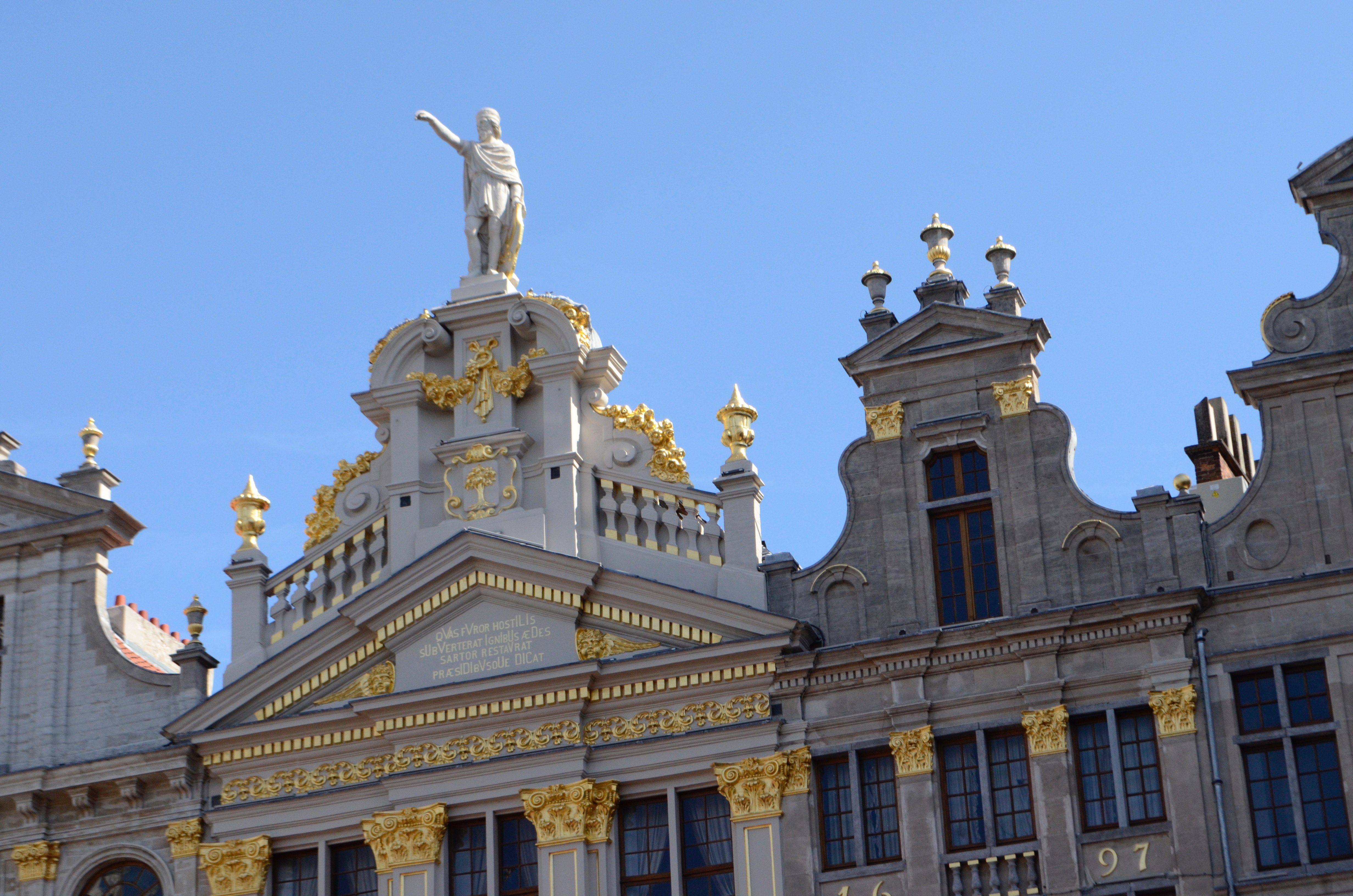 The roofline of one of the buildings around Brussels' Grand Place