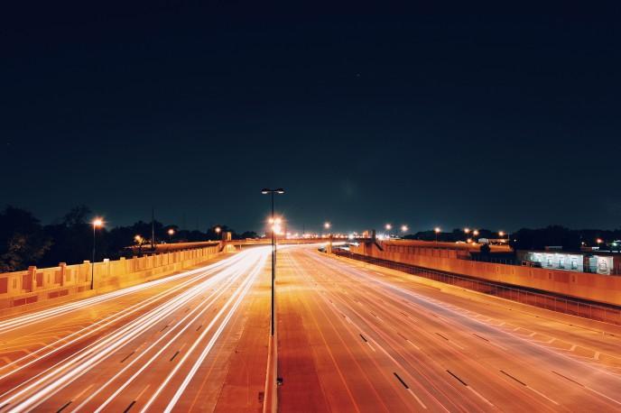 Bright light on a motorway at night