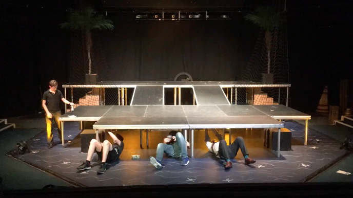 Dismantling the set of QEH's production of Treasure Island in June 2017